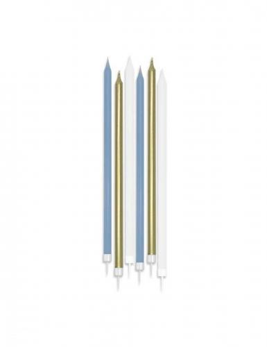 6 Grandes bougies mattes blanches, bleues et dorées 15 cm