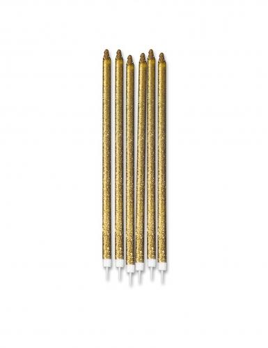 12 Grandes bougies pailletées dorées 15 cm