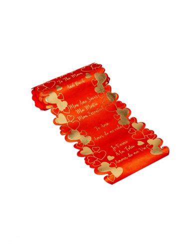 Ruban découpe cœur en satin je t'aime rouge 14 cm x 1,40 m