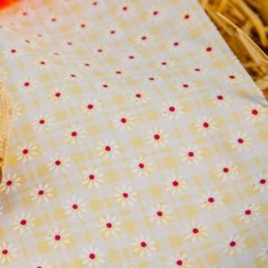 Chemin de table en tissu petites fleurs jaune 28 cm x 5 m-1