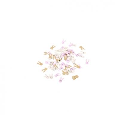 120 Confettis en papier lapinou fleurs, roses, jaunes et dorure 2,5 x 1,3 cm-1