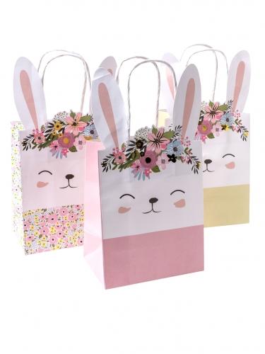 6 Sacs cadeaux lapinou liberty, rose et jaune fleurs et dorure 23 x 12 x 8 cm
