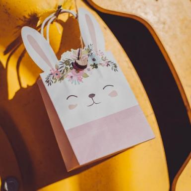 6 Sacs cadeaux lapinou liberty, rose et jaune fleurs et dorure 23 x 12 x 8 cm-2