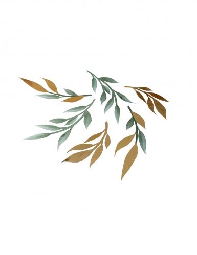 6 Décorations de table feuilles vertes et or 22 cm - 30 cm