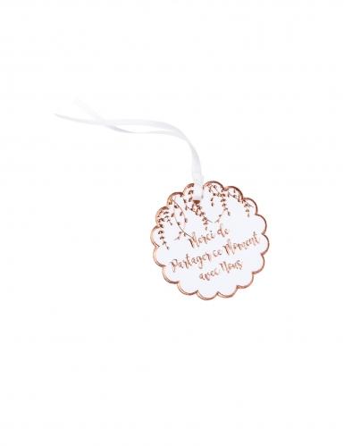 10 Étiquettes en carton merci végétal rose gold avec ruban 5 cm