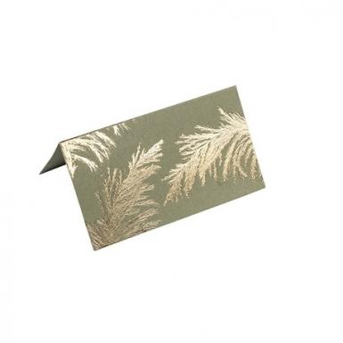 10 Marque-places en carton pampa kaki et dorure or 9 x 5 cm-1