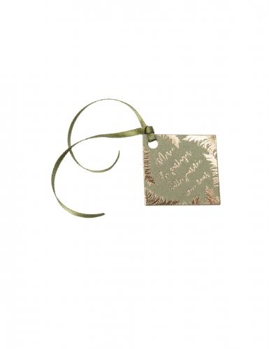 10 Étiquettes en carton merci pampa kaki et dorure or avec ruban 4 x 4 cm