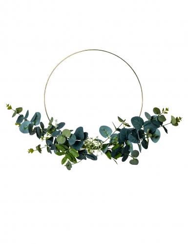 Couronne en métal d'eucalyptus et fleurs blanches cerle or 30 cm