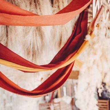 Chemin de table mousseline terracotta 28 cm x 5 m-1