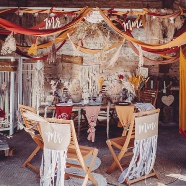 Chemin de table mousseline terracotta 28 cm x 5 m-2