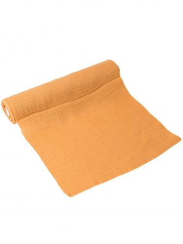 Chemin de table gaze de coton moutarde 30 cm x 3 m