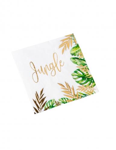 16 Serviettes en papier tropical jungle vert et dorure or 33 x 33 cm