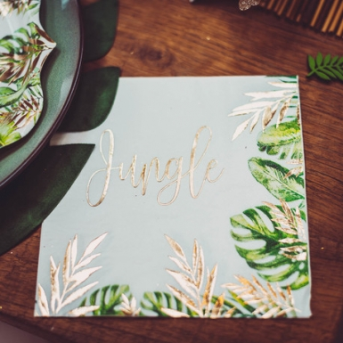 16 Serviettes en papier tropical jungle vert et dorure or 33 x 33 cm-1