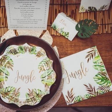 16 Serviettes en papier tropical jungle vert et dorure or 33 x 33 cm-2