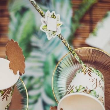 12 Pailles en carton tropical avec étiquettes 19,7 cm-1