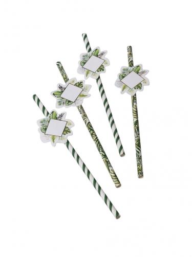 12 Pailles en carton tropical avec étiquettes 19,7 cm