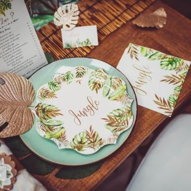 10 Marque-places en carton tropicaux ivoire avec dorure 9 x 5 cm-2