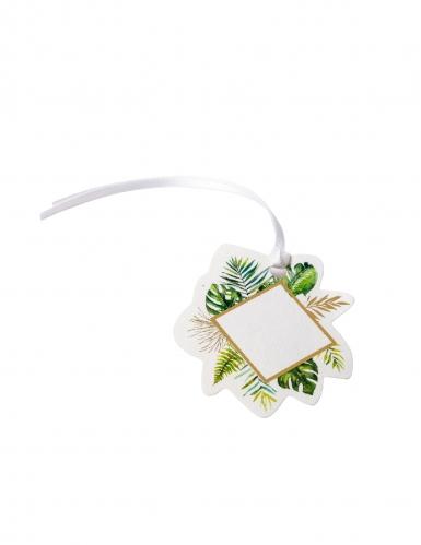 10 Étiquettes en carton tropical ivoire et dorure avec ruban satin 5,5 x 6 cm