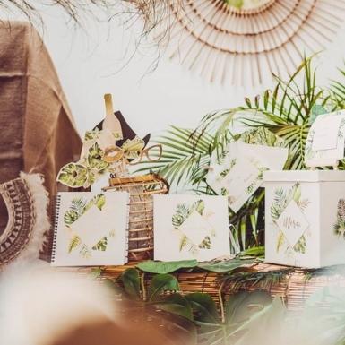 Kit photobooth tropical ivoire avec dorure 10 accessoires-2