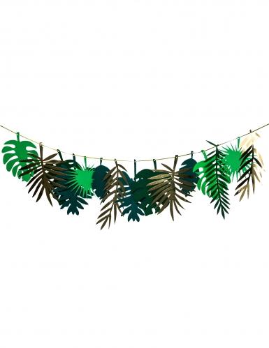 Guirlande en carton feuilles tropicales dorées et dégradé de vert 2 m