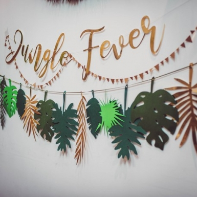 Guirlande en carton jungle fever dorée 1,20 m-1