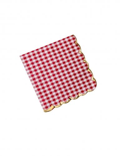 16 Serviettes en papier guinguette vichy rouge et dorure 33 x 33 cm