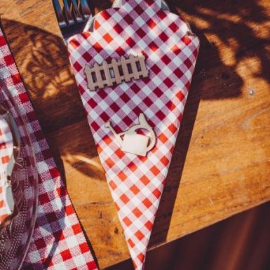 16 Serviettes en papier guinguette vichy rouge et dorure 33 x 33 cm-1