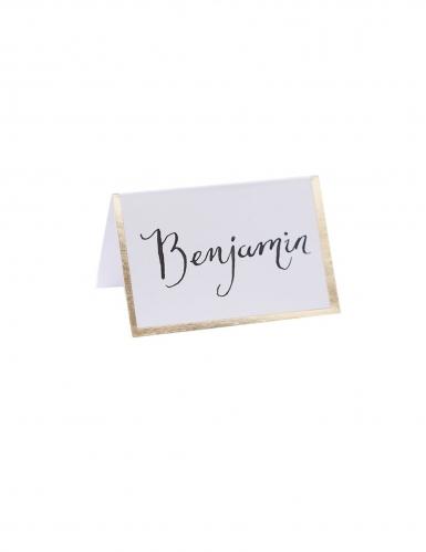 10 Marques places en carton blancs dorure 7 x 7 cm