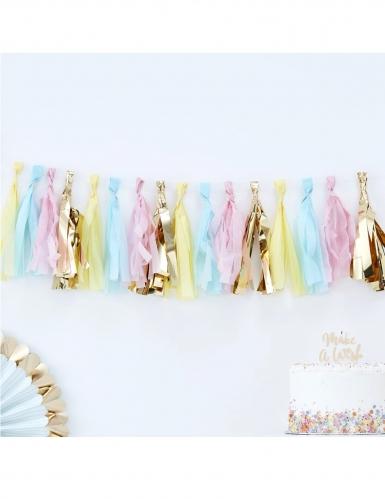 Guirlande de 16 tassels en papier pastel et doré 20 cm x 2 m