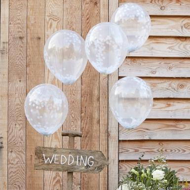 5 Ballons en latex transparents confettis blancs 30 cm-1
