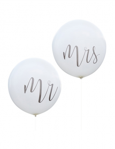 2 Ballons en latex géants Mr & Mrs blancs 91 cm