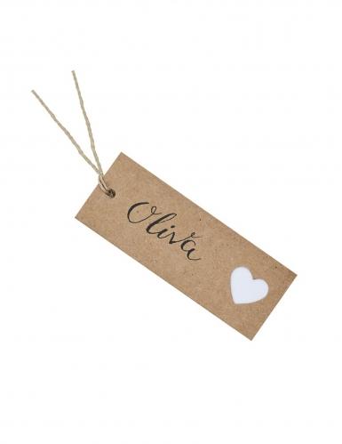 8 Etiquettes en carton kraft cœur blanc 8 x 3 cm