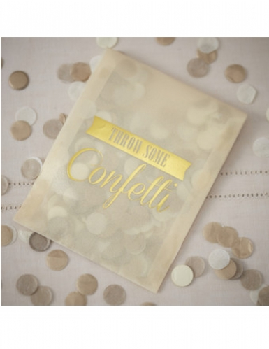 Enveloppe avec confettis en papier dorés ocre 7 g