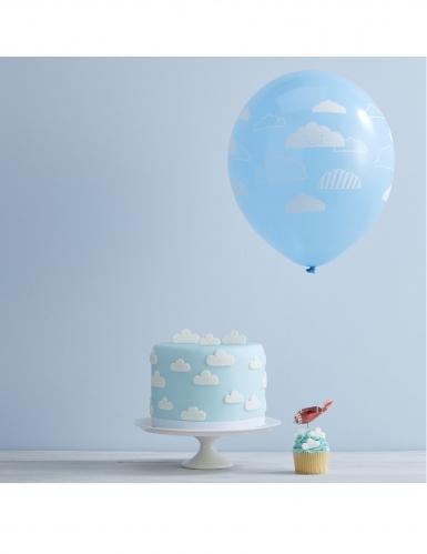 10 Ballons en latex bleus nuages blancs 30 cm-1