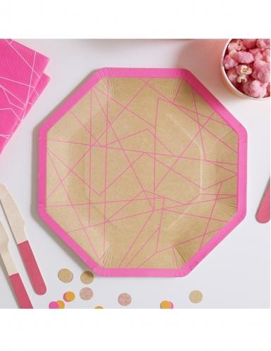 8 Assiettes en carton kraft géométrique néon rose 25 cm