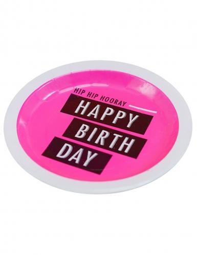 8 Assiettes en carton happy birthday néon rose 23 cm