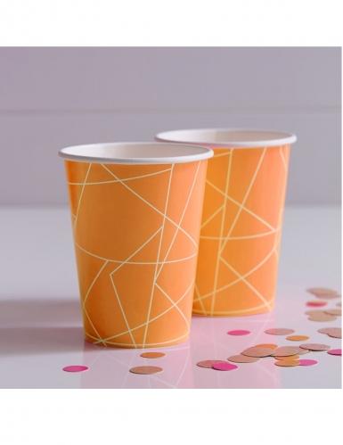 8 Gobelets en carton géométrique orange néon 266 ml