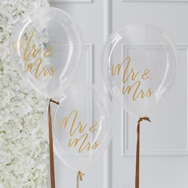 5 Ballons en latex transparents Mr & Mrs dorés 30 cm-1