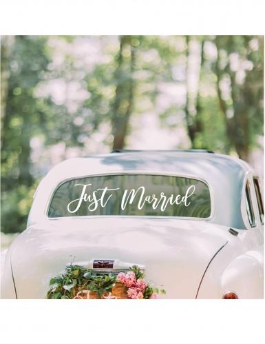 Sticker adhésif pour voiture just married blanc 60 cm-1