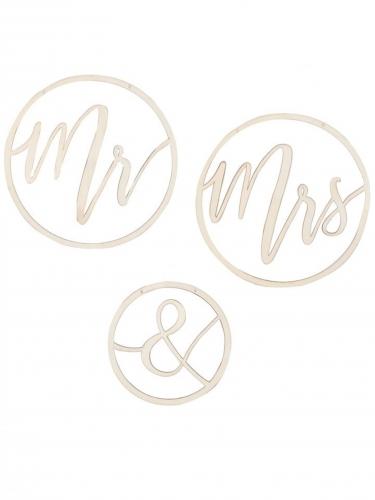 3 Suspensions en bois Mr & Mrs 25 et 35 cm