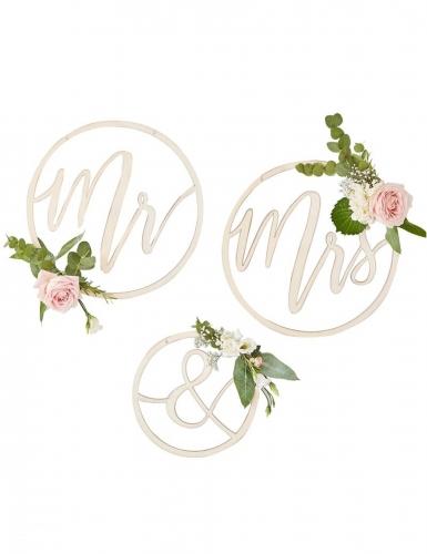 3 Suspensions en bois Mr & Mrs 25 et 35 cm-1