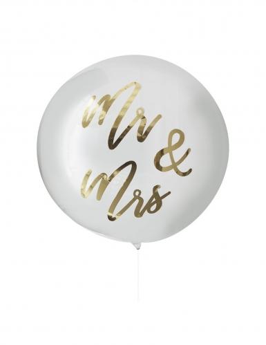 Ballon en latex géant transparent Mr & Mrs doré 91 cm