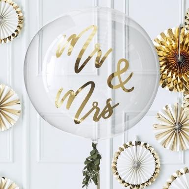 Ballon en latex géant transparent Mr & Mrs doré 91 cm-1