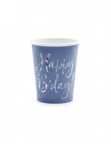 6 Gobelets en carton bleus happy b'day iridescent 220 ml