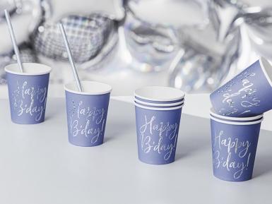 6 Gobelets en carton bleus happy b'day iridescent 220 ml-1