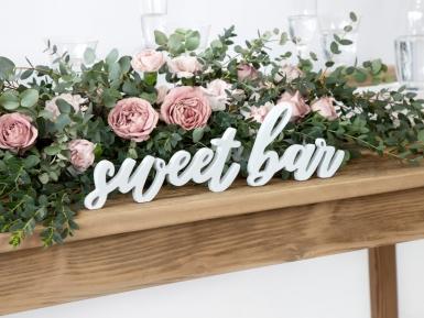 Décoration en bois sweet bar blanche 37 x 10 cm-1