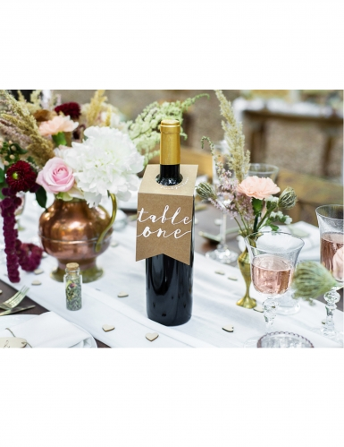 10 Marques tables en papier kraft pour bouteilles 8 x 18,5 cm-1