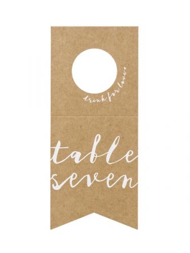 10 Marques tables en papier kraft pour bouteilles 8 x 18,5 cm-4