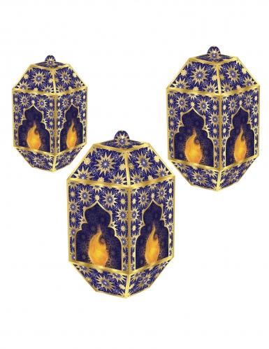 3 Lanternes en papier eid mubarak bleues et dorées 20, 24 et 28 cm
