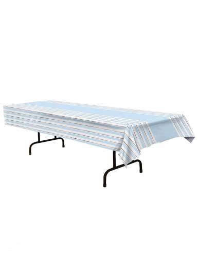 Nappe en plastique à rayures bleue et blanche 137 x 274 cm